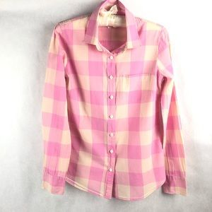 J Crew Checkered Long Sleeve Button Down Blouse XS